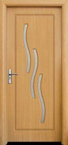 интериорна врата със стъкло цвят светъл дъб